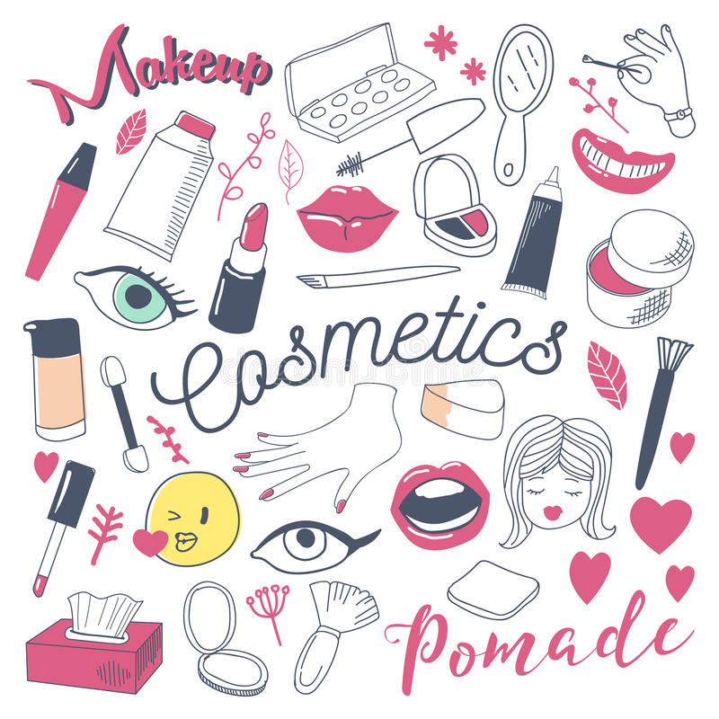 Makeup och skönhetsmedelskönhetfrihandsklotter Hand dragen uppsättning för kvinnamodebeståndsdelar vektor illustrationer