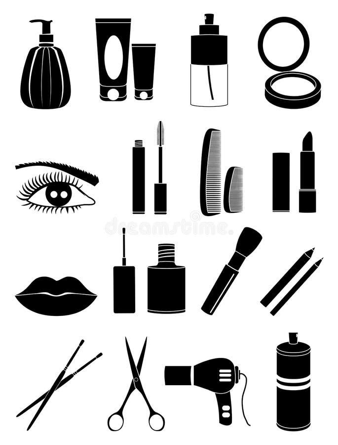 Makeup och skönhetsmedelsymbolsuppsättning vektor illustrationer