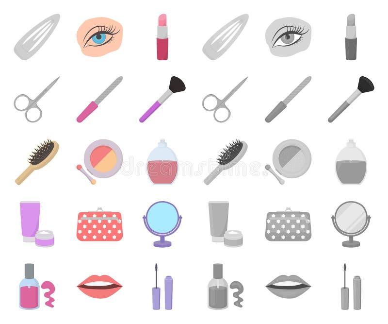 Makeup och skönhetsmedeltecknad film, mono symboler i den fastställda samlingen för design Makeup och rengöringsduk för materiel  royaltyfri illustrationer