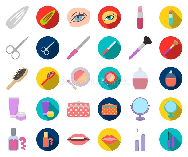 Makeup och skönhetsmedeltecknad film, plana symboler i den fastställda samlingen för design Makeup och rengöringsduk för materiel stock illustrationer