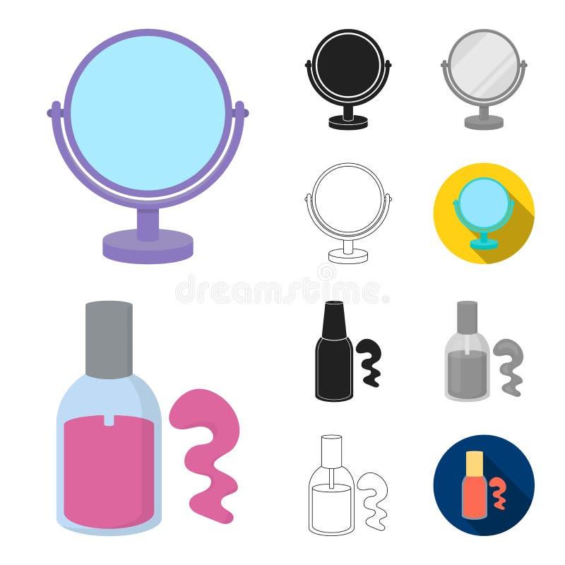 Makeup och skönhetsmedeltecknad film, svart, lägenhet, monokrom, översiktssymboler i uppsättningsamlingen för design Makeup och u vektor illustrationer