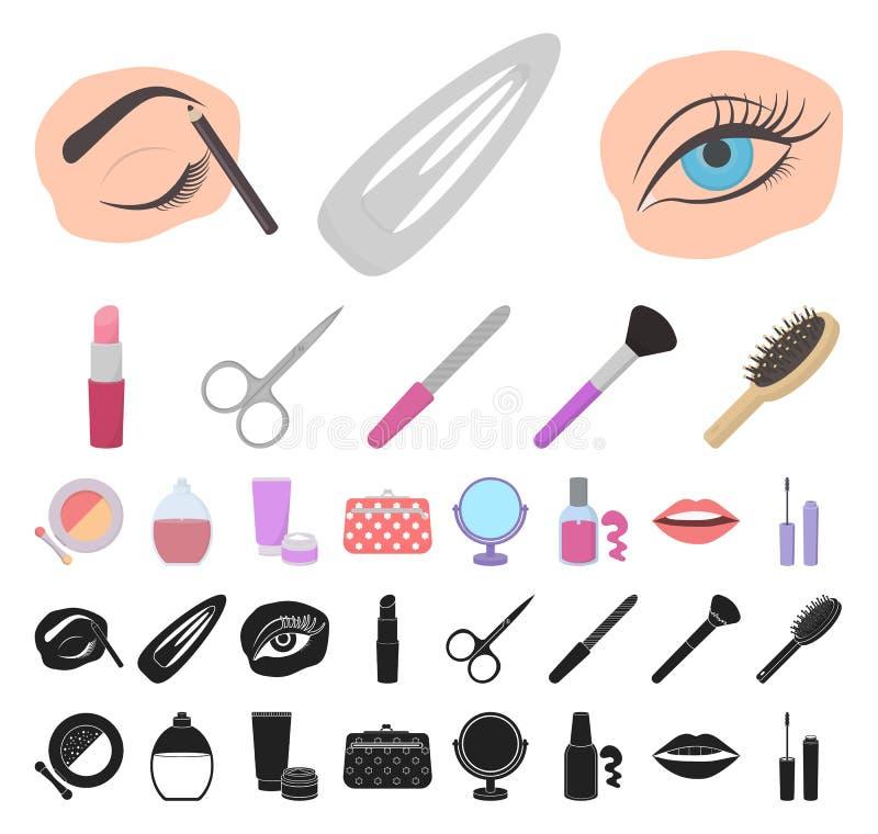 Makeup och skönhetsmedeltecknad film, svarta symboler i den fastställda samlingen för design Makeup och rengöringsduk för materie royaltyfri illustrationer