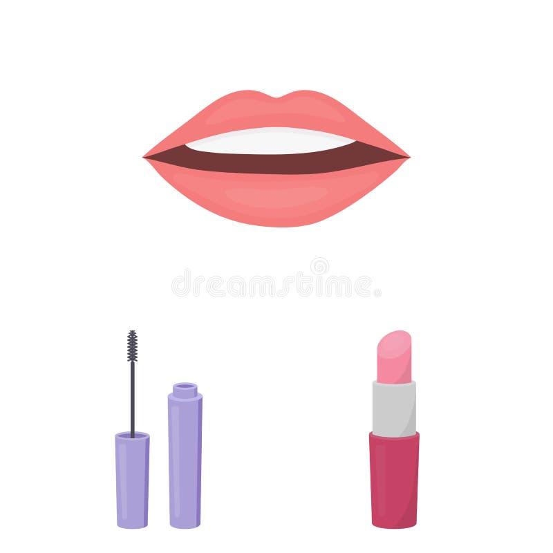 Makeup och skönhetsmedeltecknad filmsymboler i uppsättningsamlingen för design Makeup och rengöringsduk för materiel för utrustni royaltyfri illustrationer