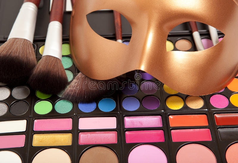 Makeup oka maska i cienie obraz royalty free