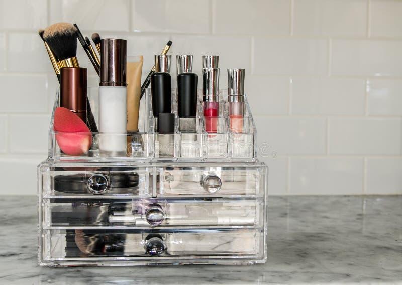 Makeup organizer stock photo