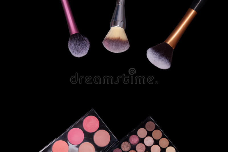 Download Makeup Palets And Brushes On Pure Black Background. Stock Photo - Image: 83722502