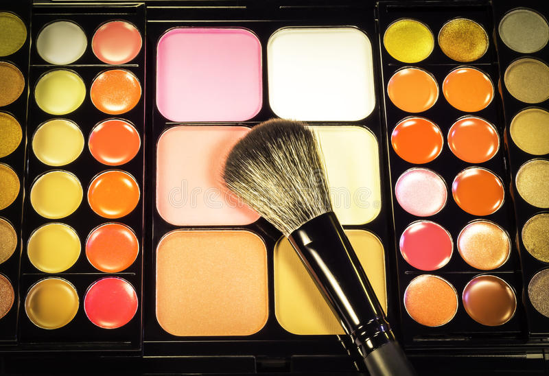 Makeup palette with makeup brush. Makeup palette set with makeup brush background stock images
