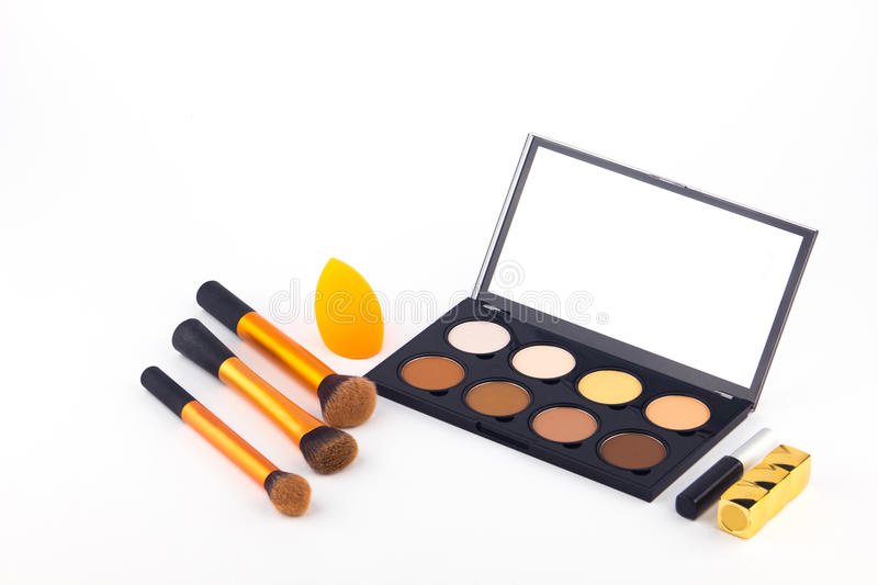 Makeup Palette and tools on a white background stock image
