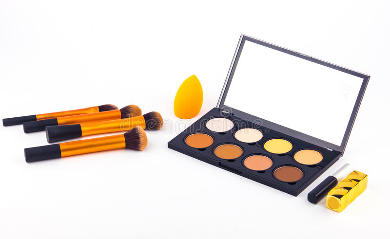 Makeup Palette and tools on a white background stock photos