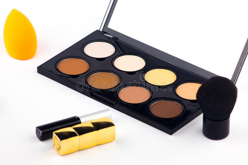 Makeup Palette and tools on a white background royalty free stock images