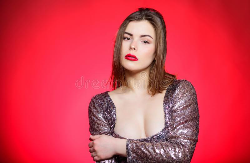 Makeup for party. Get ready for public event or party celebration. Attractive and confident woman with makeup. Makeup. And cosmetics concept. Beauty tips. Girl royalty free stock image