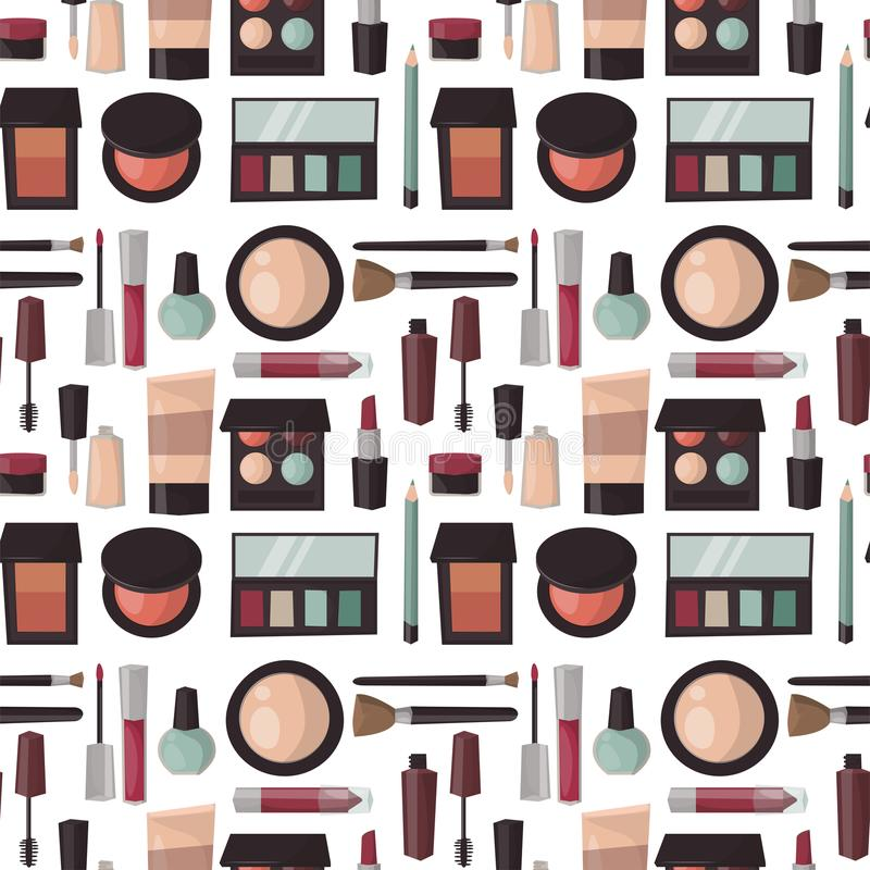 Free Makeup Perfume Mascara Care Brushes Seamless Pattern Background Comb Faced Eyeshadow Glamour Female Accessory Vector. Stock Photo - 102181500