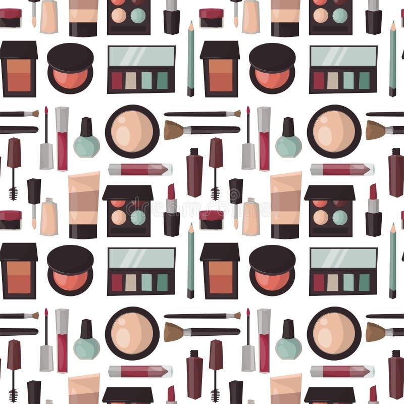 Makeup perfume mascara care brushes seamless pattern background comb faced eyeshadow glamour female accessory vector. Makeup perfume mascara care brushes