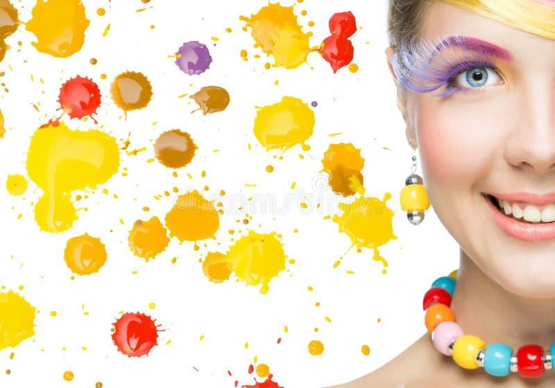 makeup piękna jaskrawy kobieta zdjęcia royalty free