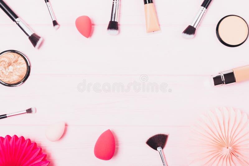 Makeup piękna produkty dla parzysty, równy cery fotografia stock
