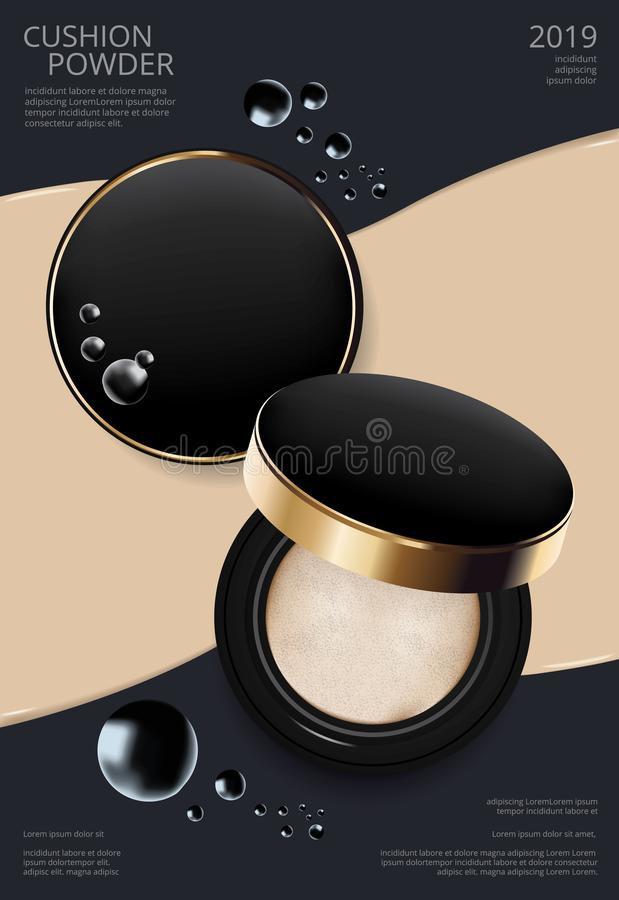 Makeup Powder Cushion Poster Template royalty free illustration