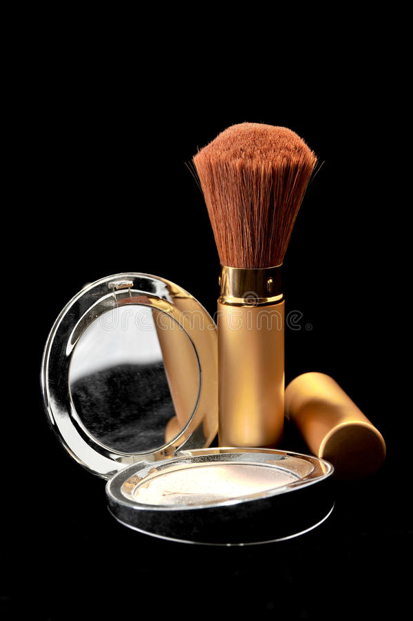 Makeup powder kit with brushes