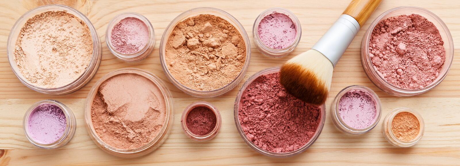 Makeup powder. Products with foundation blush and brush