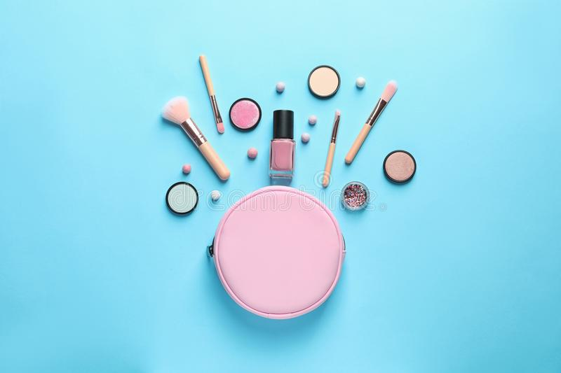 Makeup products with cosmetic bag stock photos