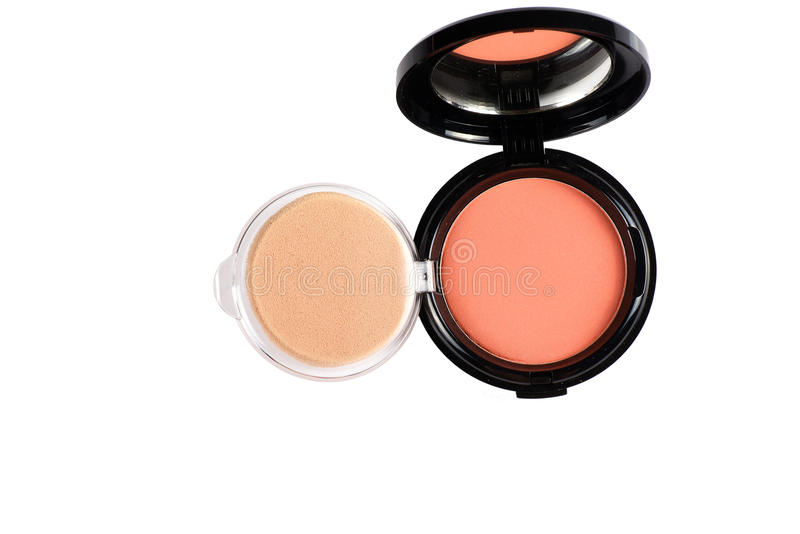 Makeup proszek w Czarnej skrzynce na białym tle zdjęcia stock