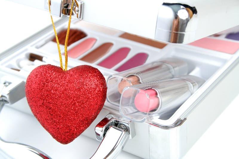 Makeup serce i teczka obraz stock