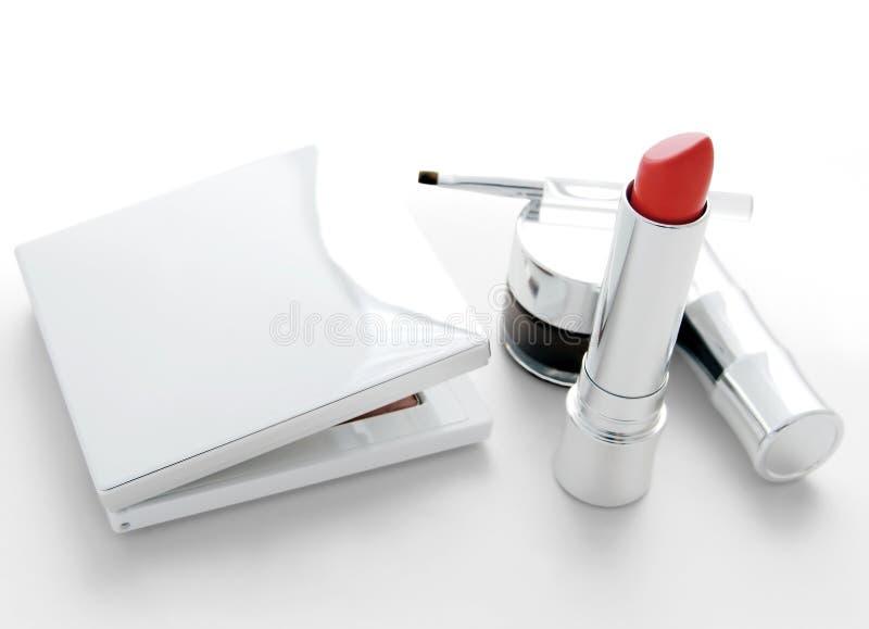 Makeup Set With Red Lipstick Stock Photos