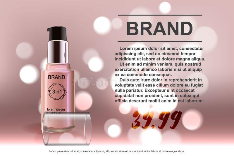 Makeup som innehålls i en genomskinlig flaska, kräm- färgläderbakgrund stock illustrationer