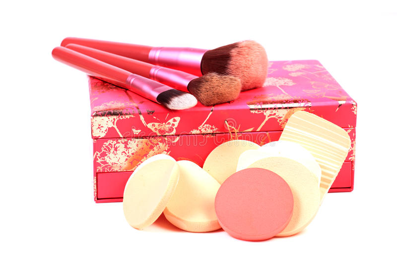 Makeup sponges and brushes royalty free stock image