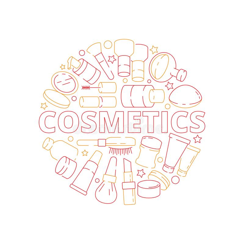 Makeup symbols. Beauty woman cosmetic items in circle shape eyeshadow lipstick cream nail polish vector design concept stock illustration