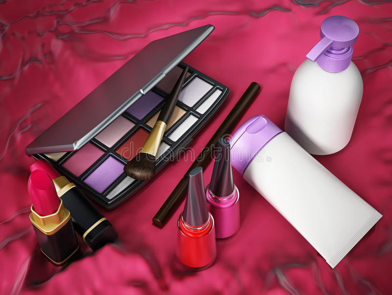 Makeup tools. On red background