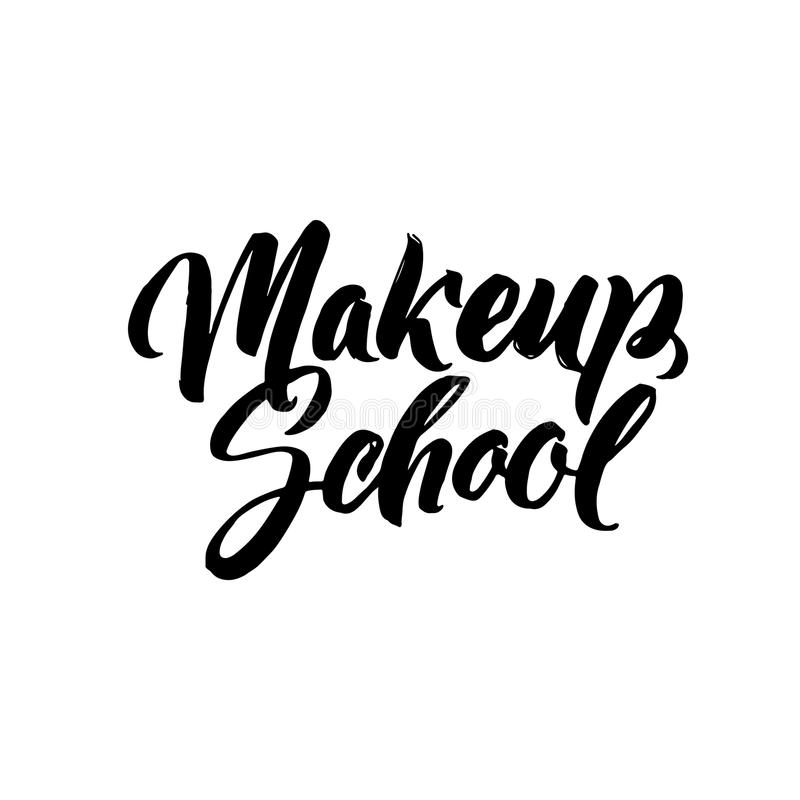 Makeup Typography Square Poster. Vector lettering. Calligraphy phrase for gift cards, scrapbooking, beauty blogs stock illustration