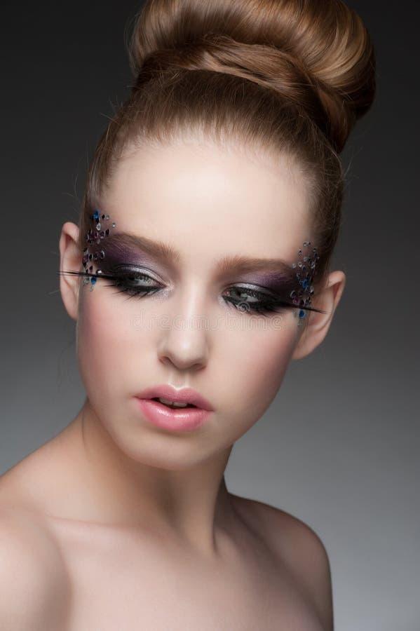 Makeup z rhinestones fotografia stock