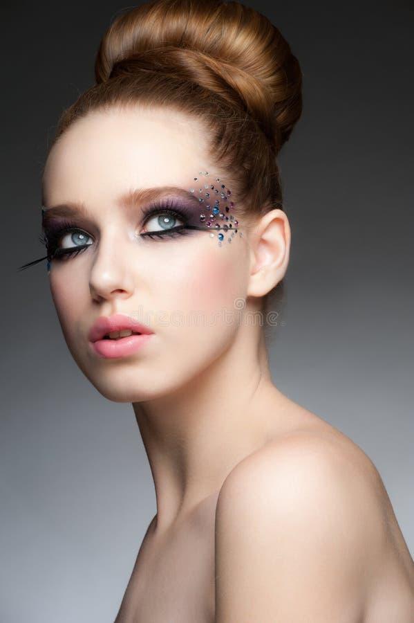 Makeup z rhinestones zdjęcia stock