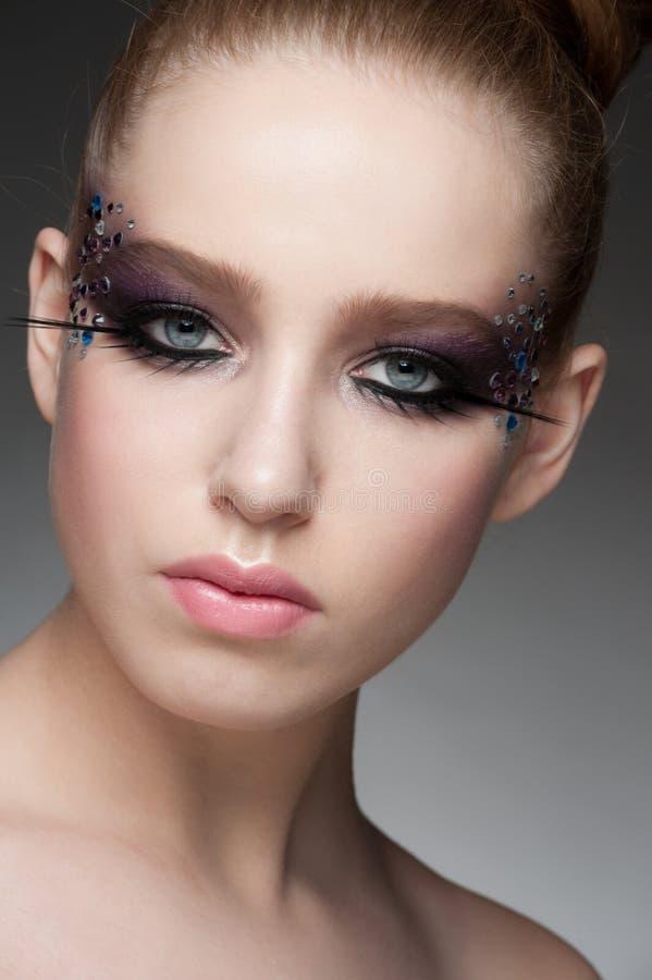 Makeup z rhinestones obrazy stock