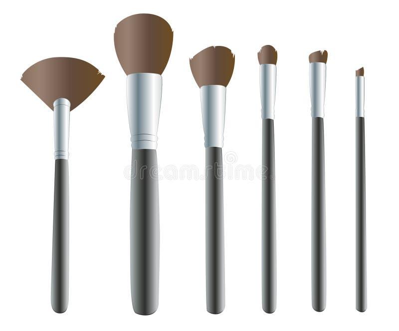 Makeupborstar, makeup bearbetar bakgrundsvektorn stock illustrationer