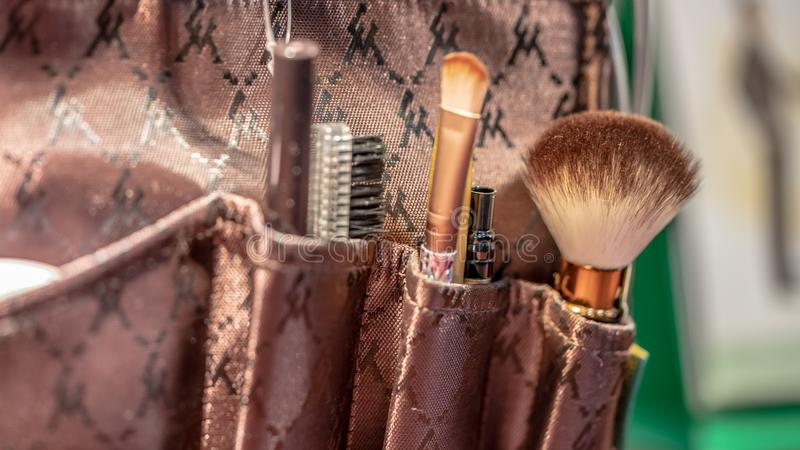 Makeupborsteuppsättning arkivfoto