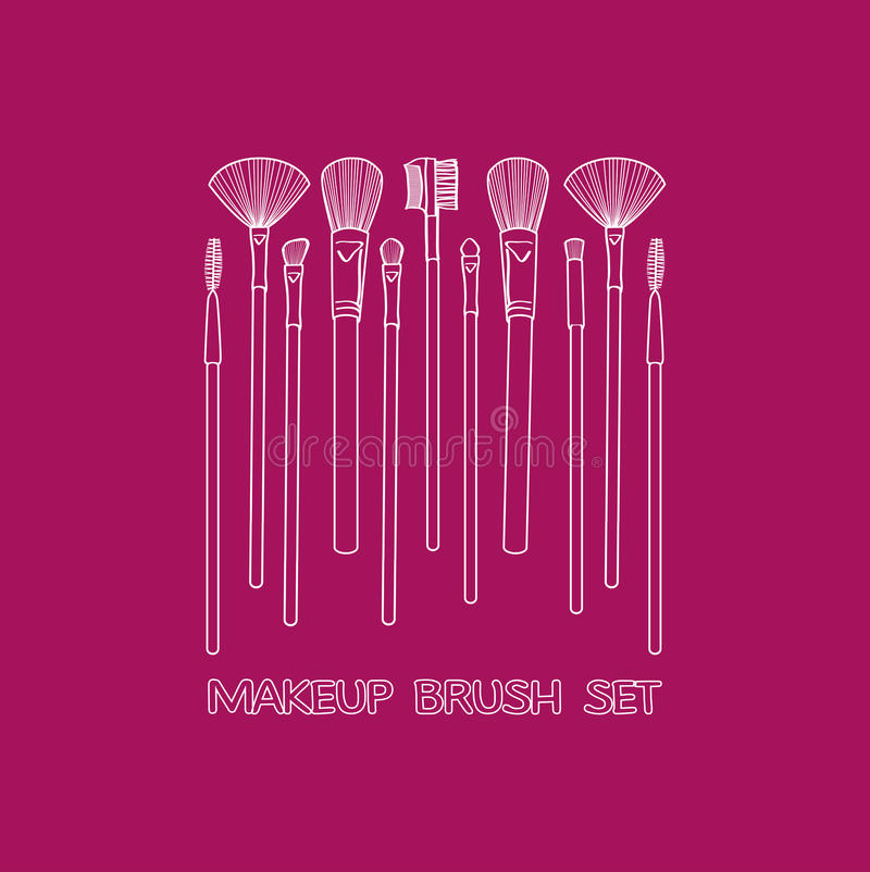 Makeupborsteuppsättning stock illustrationer