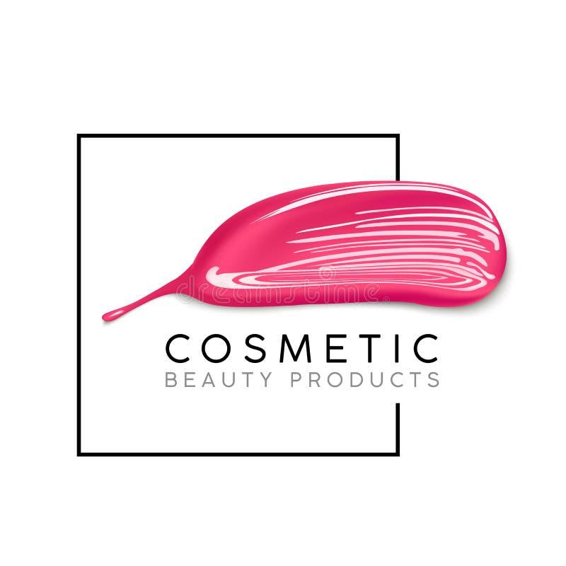 Makeupdesignmall med stället för text Det kosmetiska logobegreppet av flytande spikar polermedel- och läppstiftsuddslaglängder arkivbild