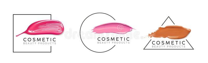Makeupdesignmall med stället för text Det kosmetiska logobegreppet av vätskefundamentet, spikar polermedel- och läppstiftsuddet arkivbilder