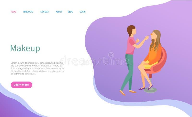Makeupkonstnär Service, kvinna i stol och förlage stock illustrationer