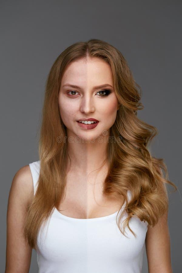 Makeupmakt Makeup för skönhet för kvinnaframsida före och efter royaltyfri bild