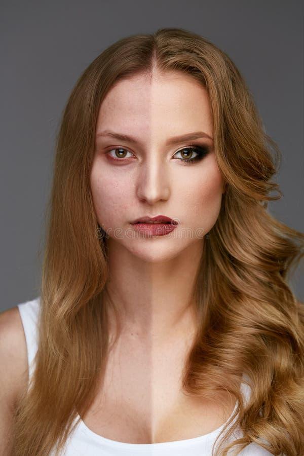 Makeupmakt Makeup för skönhet för kvinnaframsida före och efter fotografering för bildbyråer