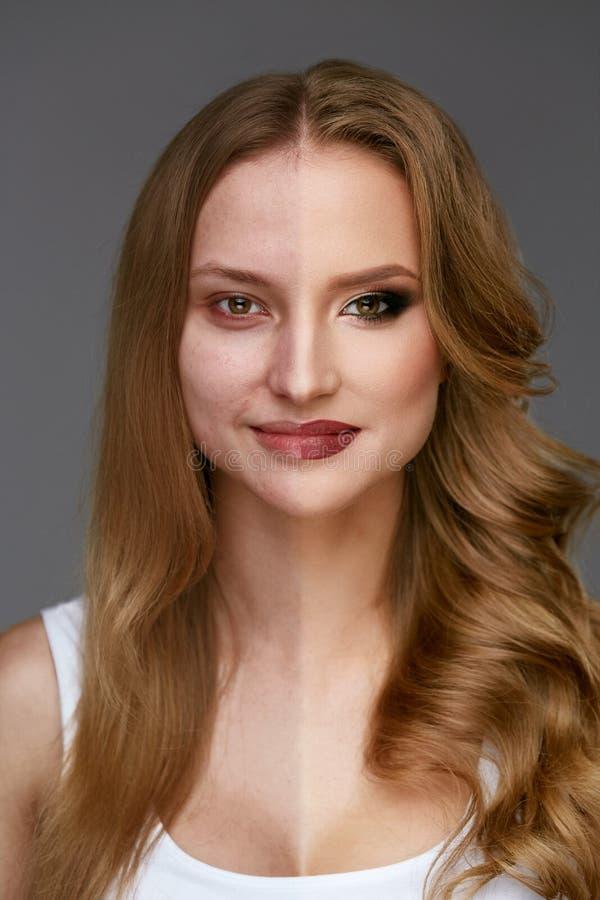 Makeupmakt Makeup för skönhet för kvinnaframsida före och efter royaltyfri fotografi