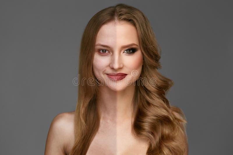 Makeupmakt Makeup för skönhet för kvinnaframsida före och efter royaltyfri foto