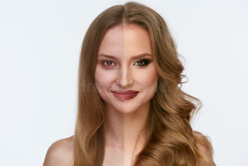 Makeupmakt Makeup för skönhet för kvinnaframsida före och efter arkivfoto