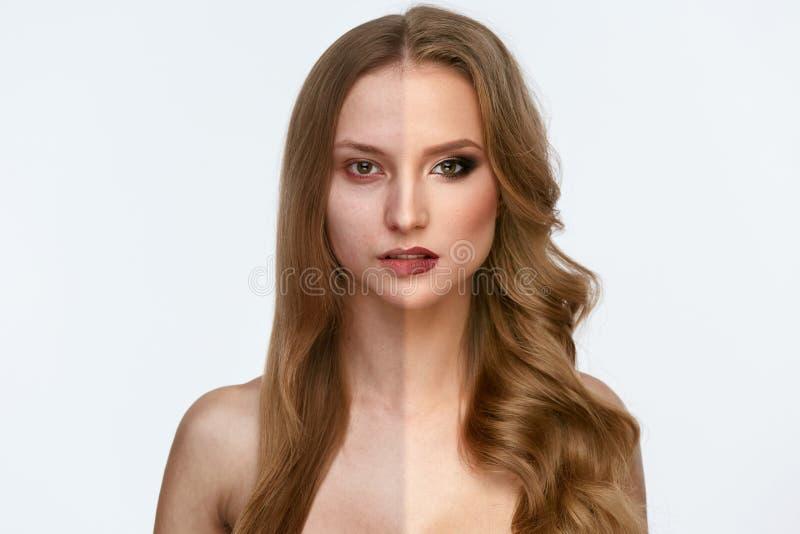 Makeupmakt Makeup för skönhet för kvinnaframsida före och efter royaltyfria bilder