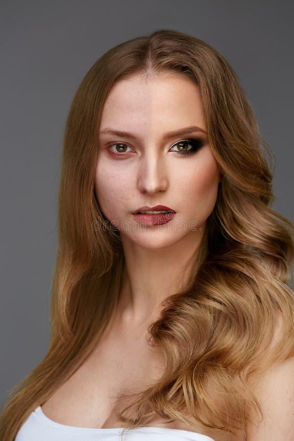 Makeupmakt Makeup för skönhet för kvinnaframsida före och efter arkivbilder
