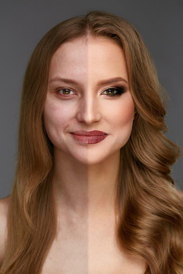 Makeupmakt Makeup för skönhet för kvinnaframsida före och efter arkivbild