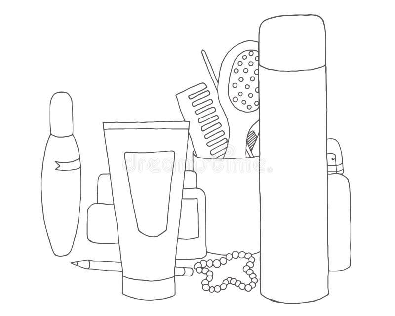 makeupsats personlig omsorg Ställ in hudomsorg för ` s för kvinnor Vektor för skönhetsminksamling royaltyfri illustrationer