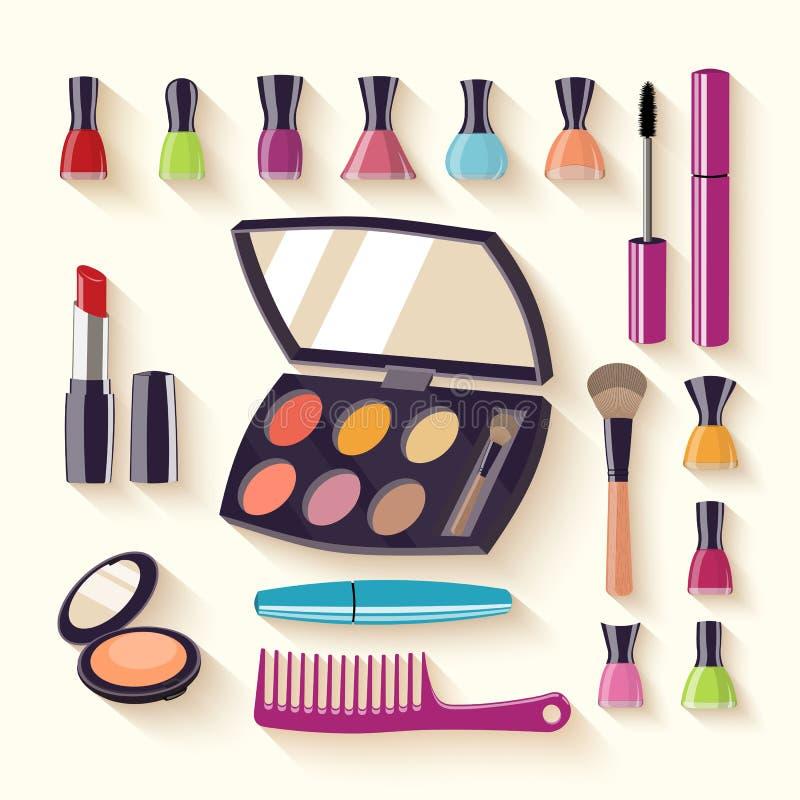 makeupsats Uppsättningar av skönhetsmedel på isolerad bakgrund också vektor för coreldrawillustration fotografering för bildbyråer